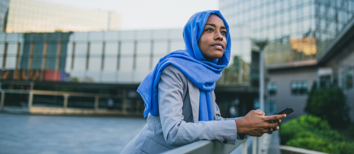 Business woman in head scarf